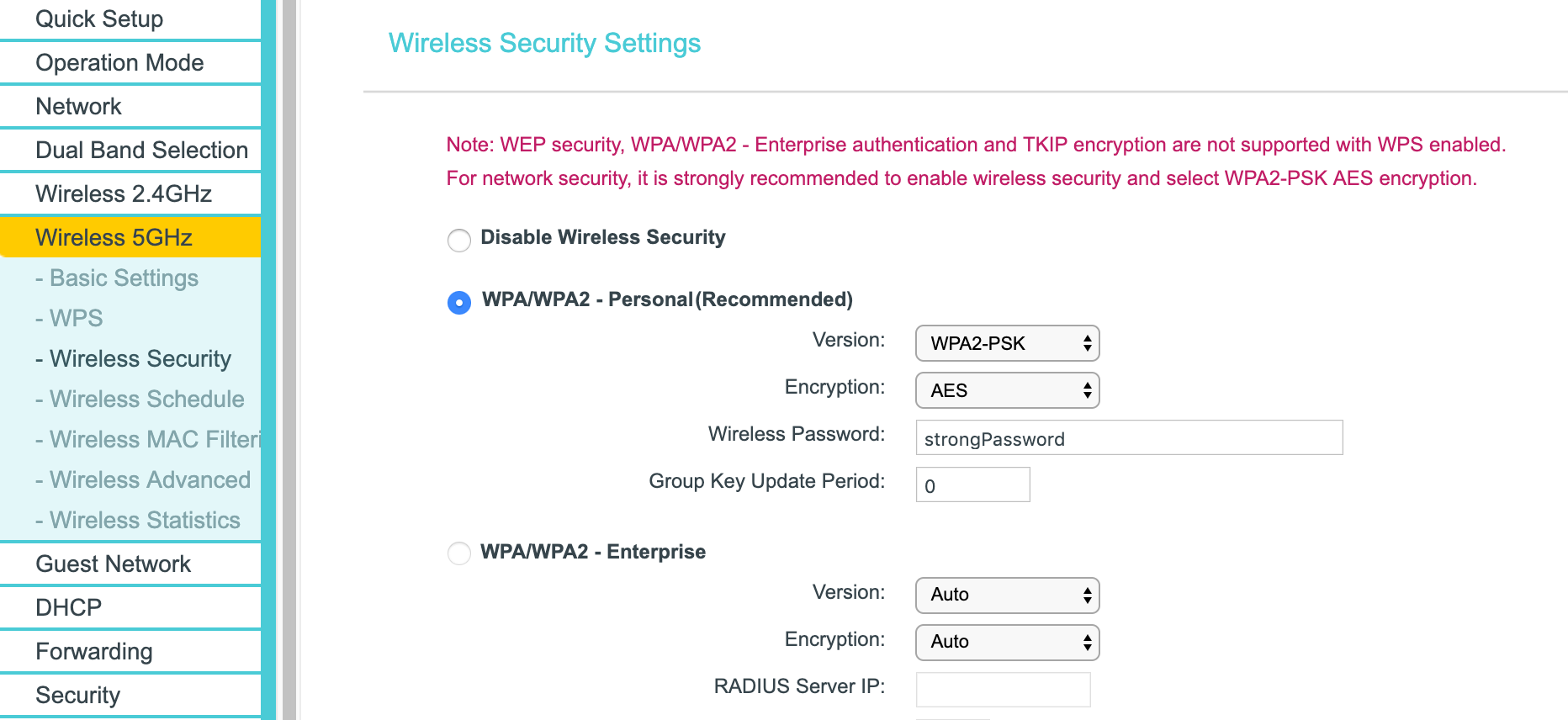 Wireless Security Config